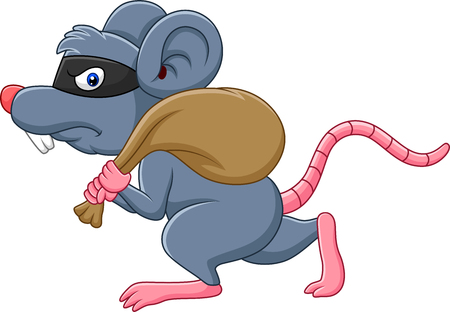 Vector illustration of Cartoon rat Thief stealing on the bag and running