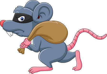 Vectorillustratie van Cartoon rat Thief stelen op de tas en running Vector Illustratie