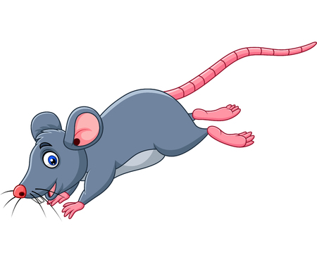 Vector illustration of Cartoon funny mouse jumping