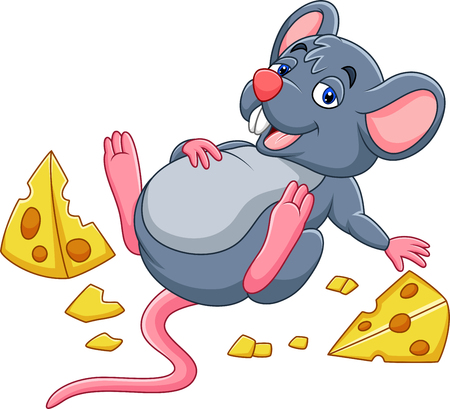 Vector illustration of Cartoon mouse with a cheese and full belly Çizim