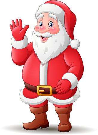 Vector illustration of Cartoon happy santa claus waving