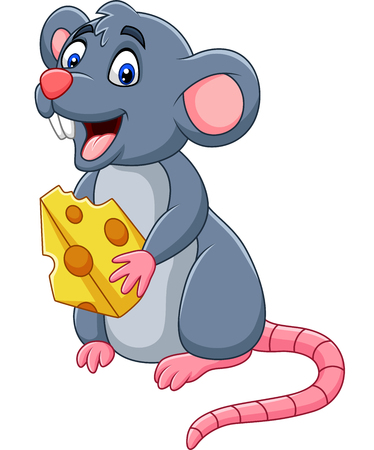 Vector illustration of Cartoon mouse holding slice of cheese