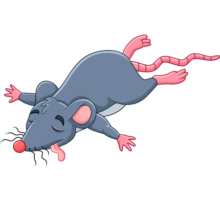 Vector illustration of Cartoon dead mouse