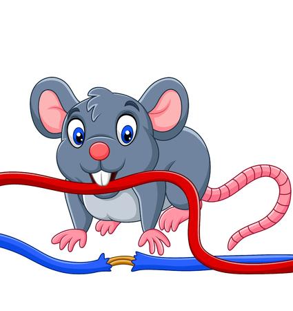 Illustrazione vettoriale del topo del fumetto che morde il cavo