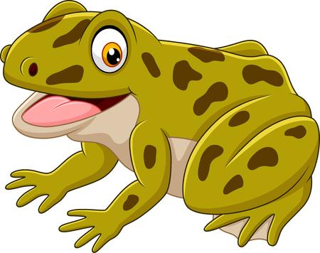 Vector illustration of Cartoon happy green frog