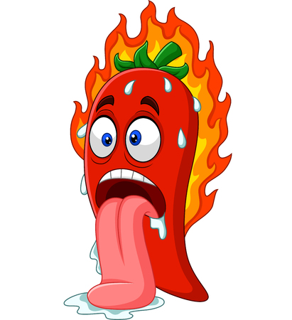 Vector illustration of Cartoon chili pepper with tongue out Ilustração