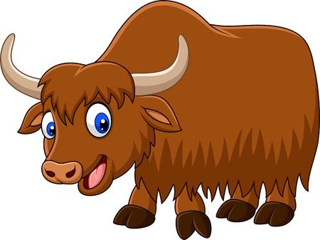 Vector illustration of Cartoon happy yak