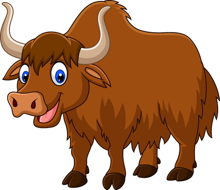 Vector illustration of Cartoon happy yak