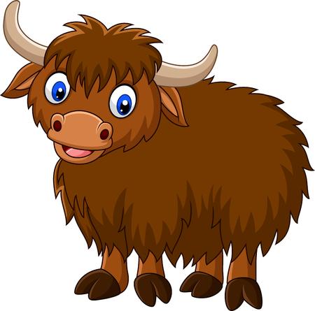 Illustration vectorielle de dessin animé heureux yak