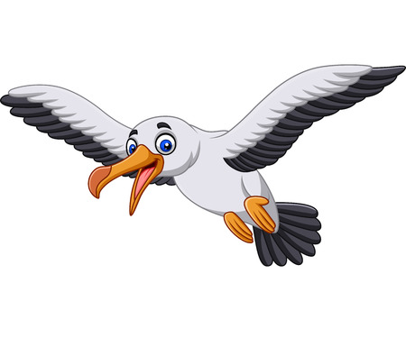 Vector illustration Cartoon albatross bird flying