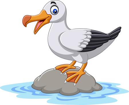 Ilustración de vector de albatros de pájaro lindo de dibujos animados de pie sobre una roca
