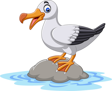 Vector illustration of Cartoon cute bird albatross standing on a rock