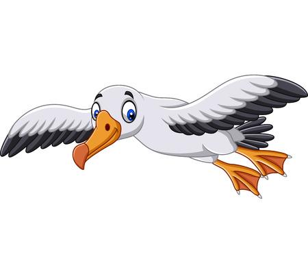Vector illustration of Cartoon albatross flying