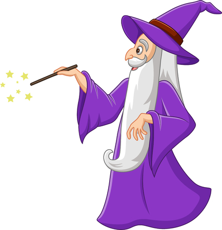 Vector illustration of Cartoon old wizard with magic wand Imagens - 116946433