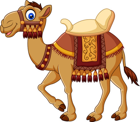 Vector illustration of Cartoon funny camel with saddlery