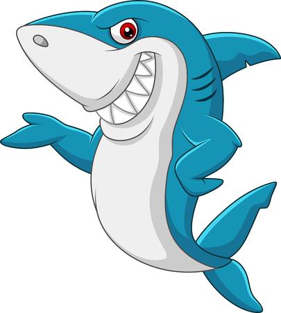 Vector illustration of Cartoon shark waving Illustration