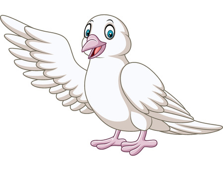 Vector illustration of Cartoon cute dove presenting Çizim