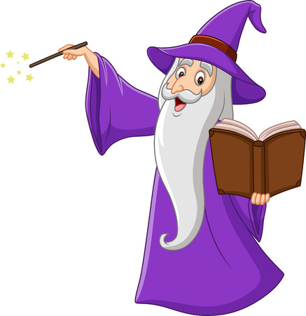 Vector illustration of Cartoon old wizard holding a magic book Imagens - 117901072