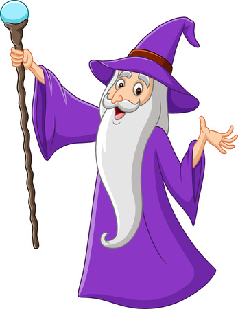 Vector illustration of Cartoon old wizard holding magic stick Imagens - 117901068