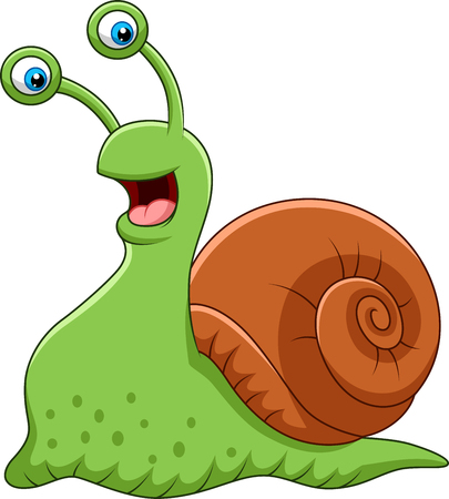 Vector illustration of Cartoon funny snail isolated on white