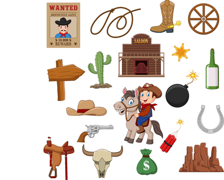 Vector illustration of Wild west western collection set Stockfoto - 117901004