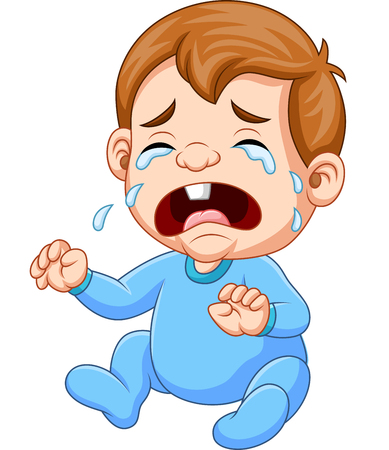 Vector illustration of Cartoon baby boy crying