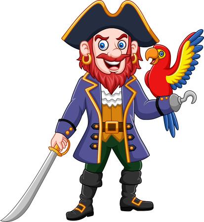 Vector illustration of Cartoon pirate captain and macaw bird Illustration