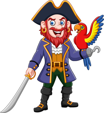 Vector illustration of Cartoon pirate captain and macaw bird Çizim