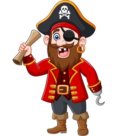Illustration vectorielle du capitaine Pirate Cartoon tenant une carte au trésor Vecteurs