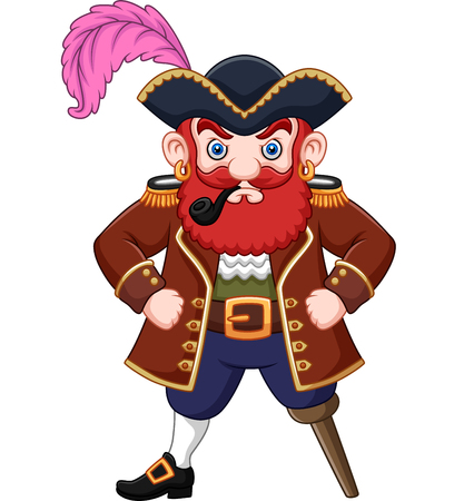 Illustration vectorielle de pirate de dessin animé avec une pipe