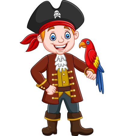 Vector illustration of Cartoon captain pirate  with macaw bird Stock Illustratie