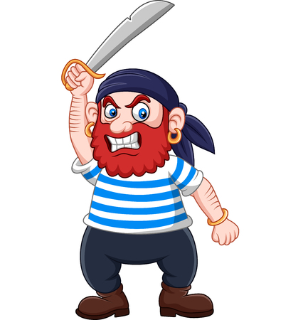 Vector illustration of Cartoon pirate holding a sword