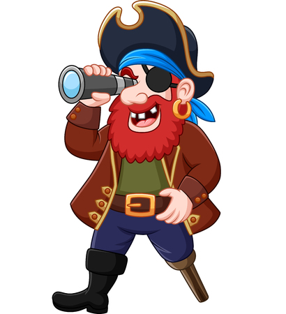 Vector illustration of Cartoon Pirate looking through binoculars Illustration