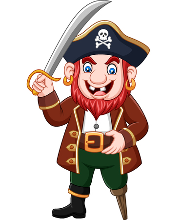 Vector illustration of Cartoon captain pirate holding a sword