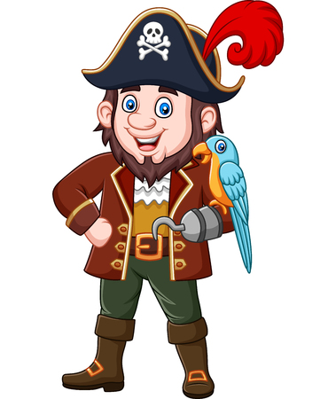 Vector illustration of Cartoon pirate captain and macaw bird Stock Illustratie