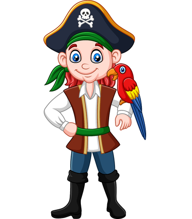 Vector illustration of Cartoon captain pirate with macaw bird