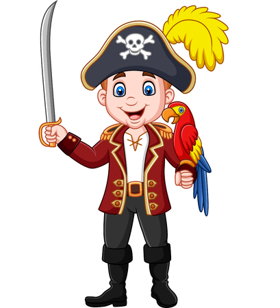 Vector illustration of Cartoon pirate captain holding sword with macaw bird