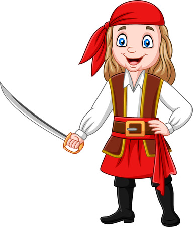 Vector illustration of Cartoon pirate girl holding a sword