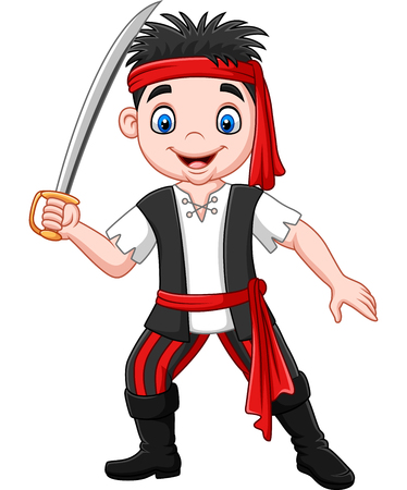 Vector illustration of Cartoon pirate holding dagger Stok Fotoğraf - 117900953