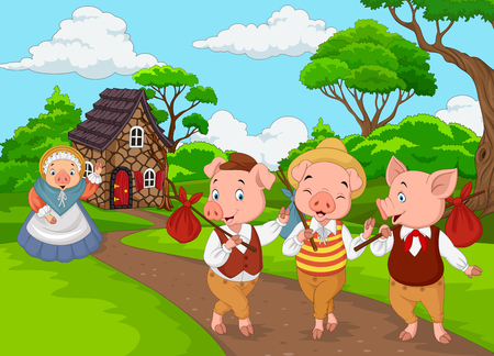 Vector illustration of Cartoon mother pig with three little pigs