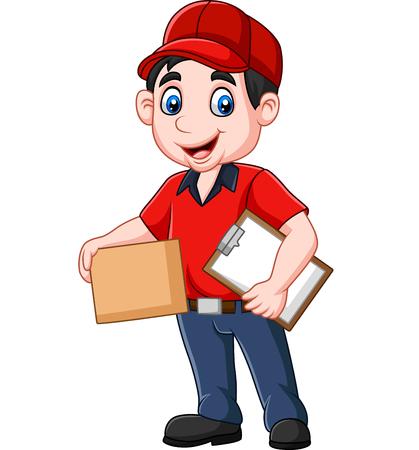 Illustration vectorielle du courrier de livraison de dessin animé tenant le presse-papiers et les boîtes en carton