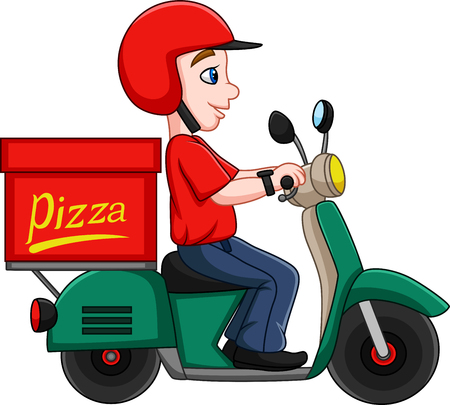 Vector illustration of Cartoon Pizza delivery man riding a scooter