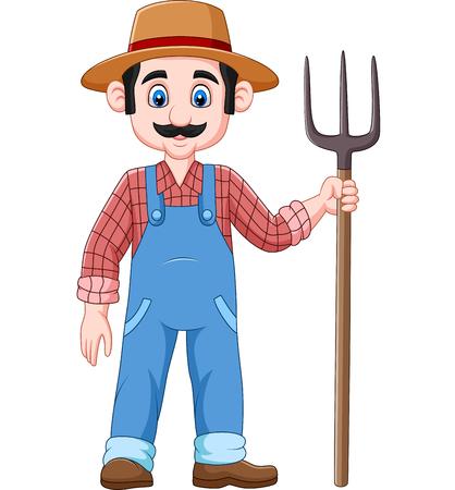 Vector illustration of Cartoon farmer holding a pitchfork