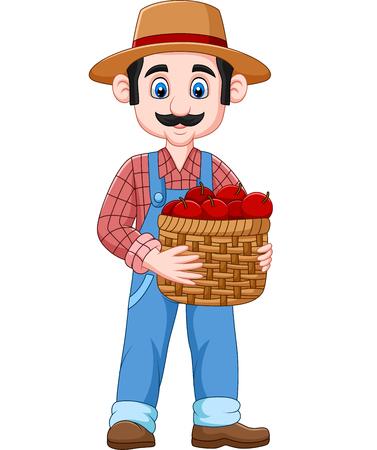 Vector illustration of Cartoon farmer holding a basket of apples Vetores