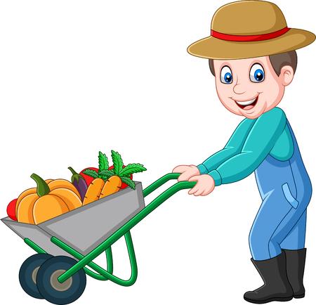 Illustration vectorielle de jeune agriculteur de dessin animé poussant une brouette pleine de légumes