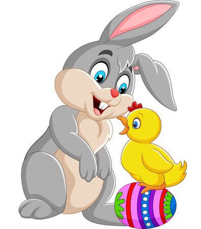 Cartoon rabbit with a baby chick standing on Easter egg Illustration
