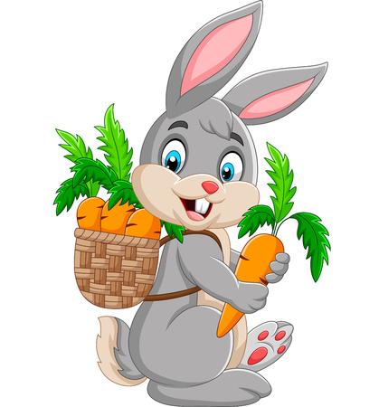 Lapin de Pâques transportant un panier plein de carottes Vecteurs