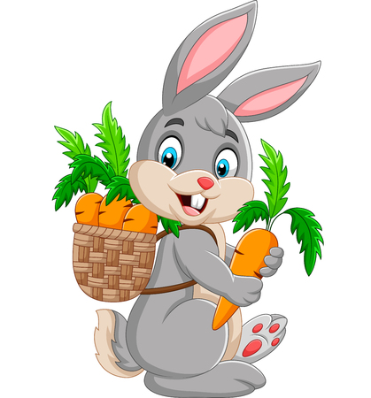 Easter Bunny carrying basket full of carrots