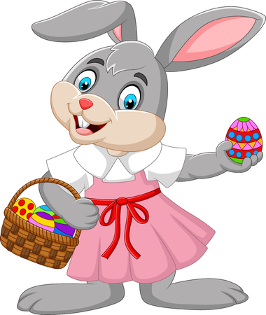 Cartoon Easter bunny girl with a basket of egg