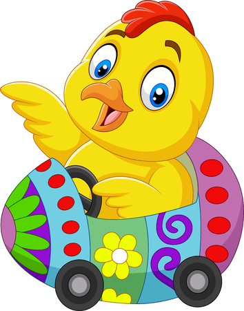 Cartoon baby chick riding an easter egg car